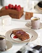 Chocolate and prune terrine with raspberry sauce