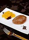 Mousse au chocolat with orange salad