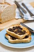 Vegemite on toast (tasty spread, Australia)