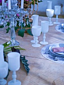 Laid table with white wine goblets