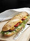 Roast beef, tomato and rocket sandwich