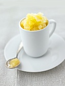 Orange sorbet in a cup