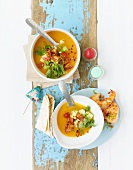 Cold sweet potato soup with fried prawns