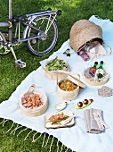Picnic on grass, bicycle