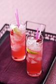 Cranberry lemonade on tray