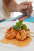 Prawn skewers with chilli sauce