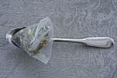 Spoon with lemon grass tea in nylon tea bag