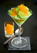 Matcha (green tea) cream with mandarin oranges and orange zest