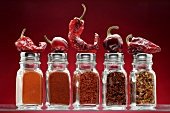 Various types of chilli powder and chilli peppers