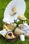A picnic with a parasol