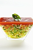 Vegetable risotto in a jar with tomato sauce