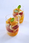 Fruit salad with apricot cream
