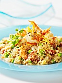 Couscous with peppered shrimp and peas