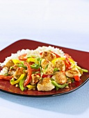 Chicken with pepper strip and rice