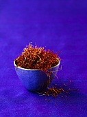 Strands of saffron in a container