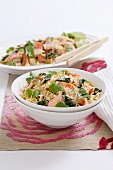 Rice with salmon, spinach, lime and coriander