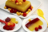 Fruit jelly with cape gooseberries and raspberries