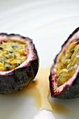Purple granadilla (passion fruit) in two halves