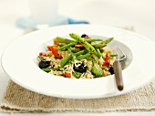 Rice with beans, olives and peppers