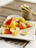 Melon salad with ginger sauce