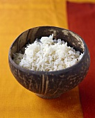 Cooked basmati rice in a wooden bowl