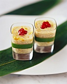 Two glasses of vermicelli dessert with vanilla & saffron