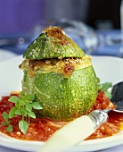 Stuffed round courgette with tomato sauce (Corsica)