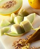 Honeydew melon cut into pieces