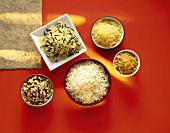 Five different types of rice