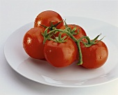 Five vine tomatoes on a plate