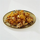 Several mace flowers on a plate