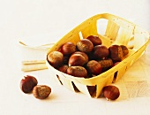 Hazelnuts in a wooden basket