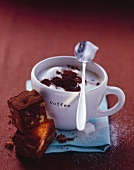 Cappuccino with two brownies
