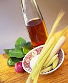 Fish sauce, lemon grass, Thai basil and lime leaves