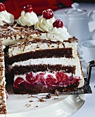 Black Forest cherry gateau, a piece cut