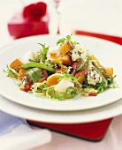 Winter salad with quail's eggs, bacon, croutons & goat's cheese