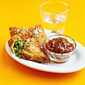 Potato turnovers with fig chutney