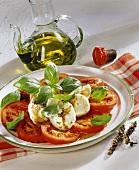 Insalata caprese (tomatoes, mozzarella and basil, Italy)