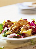 Salad of red cabbage, pineapple and nuts