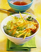 Asian salad with spicy dressing