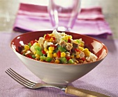 Salad with chicken, sweetcorn, peppers and cauliflower