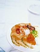 Salmon terrine with shrimp, salmon caviar & tomato vinaigrette