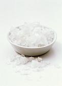 Coarse salt in white bowl