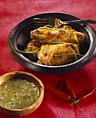 Barbecued chicken with herb and lemon sauce