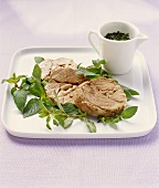 Lamb with mint sauce