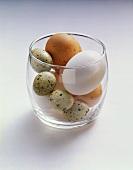 Mehrere verschiedene Eier in einem Glas