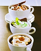 Coffee with Kirsch, with mint syrup and hot chocolate