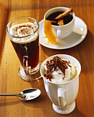 Irish coffee, Café brulôt and Rüdesheim coffee