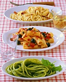 Bucatini, Rigatoni e Trenette (Three different pasta dishes)