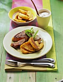 Steak mit Baked Potatoes und Quarkdip